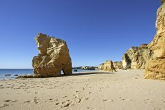 Rocks at Praia da Rocha in Portugal Royalty Free Stock Images