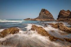 Rocks at Praia de Odeceixe stock photography