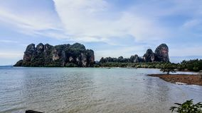 The rocks at Railay. A view of the landscape in Railay Royalty Free Stock Photo