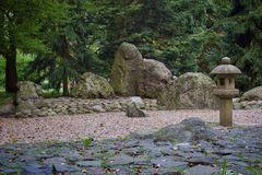 Different side rocks in a park. Rocks ranging of different sizes group together by some trees royalty free stock image