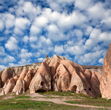 Rocks in Red Valley, Cappadocia, Turkey. Unique stone church in Red Valley, Cappadocia, Turkey. Cappadocian Region with its valley, canyon, hills located between royalty free stock photos