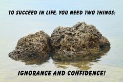 Rocks with reflection quote Royalty Free Stock Photo