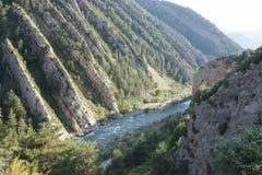 Rocks in River Ara, pyrenees Stock Photo
