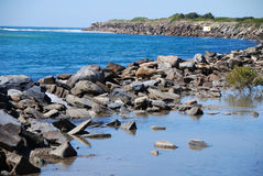 Rocks at the river delta. Rocks on the shore of the river delta at Urunga, near Coffs Harbour Australia Stock Image