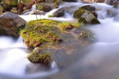 Rocks in a river, Rascafria, Madrid stock image