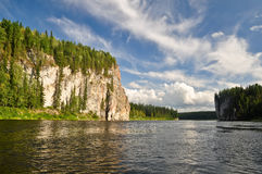 Rocks on the river Schugor in the Komi Republic. Royalty Free Stock Photography