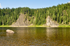 Rocks on the river Schugor in the Komi Republic. Royalty Free Stock Photo