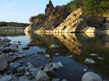 Rocks on the river in Umbria Stock Photography