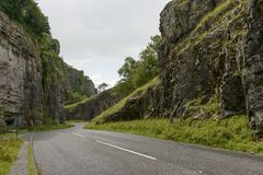 Rocks and road at Cheddar gorge, Somerset Royalty Free Stock Photo