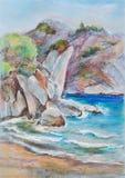 Rocks. Rock breakage on coast in sunny day vector illustration