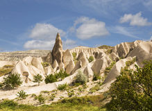 Rocks in Rose Valley of Goreme National Park in Central Anatolia Stock Photo