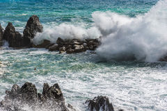 Rocks in rough sea Royalty Free Stock Photo