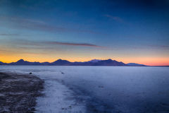 Rocks and Salt HDR. Sunset on the Bonneville Salt Flats in Utah Stock Photos