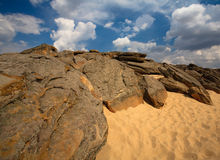 Rocks on sand. Rocks and stones on sand in National Reserve in Ukraine Stock Photography
