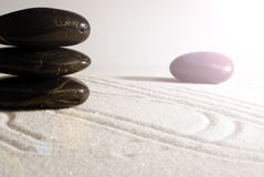 Rocks on sand. Selection of shiny pebbles on white sand Stock Image