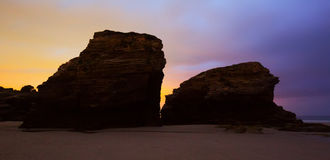 Rocks  at sand beach   in night Stock Photography