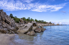Rocks and sand in a beautiful beach in Chalkidiki, Greece Stock Photo