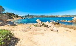 Rocks and sand in Cala dei Ginepri Royalty Free Stock Image