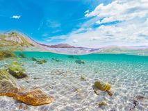 Rocks and sand in Porto Istana seafloor Stock Images