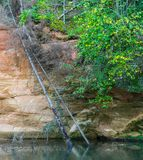 Rocks of sandstone overgrown with plants and moss, river flow. royalty free stock image