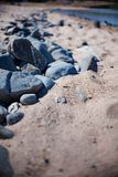 Rocks on sandy beach Stock Image