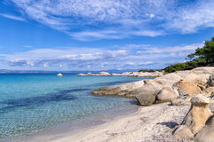 Rocks in a sandy beach in Sithonia, Chalkidiki, Greece Royalty Free Stock Photos