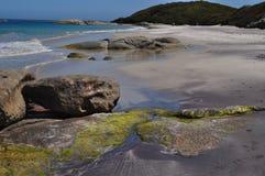 Rocks on Sandy beach Stock Photography