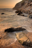 Rocks in the sea. Lusty Gaze beach in Newquay, Cornwall, UK royalty free stock images