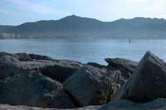 Rocks and sea. In ocean landscape in Spain Stock Photos