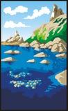 Rocks and sea. Landscape, vector illustration Royalty Free Stock Photo