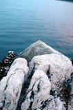 Rocks and sea. Aerial view of rocky coastline and sea stock photo