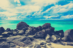 Rocks , sea and blue sky , Lipe island Thailand - vintage color effect Royalty Free Stock Images