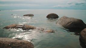Rocks on the sea coast stock video footage