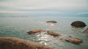 Rocks on the sea coast stock video footage
