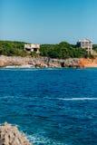 Rocks on the sea in Montenegro. Rocky coast. Wild beach. Dangero Stock Images
