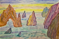 Rocks in sea, painting Royalty Free Stock Photos