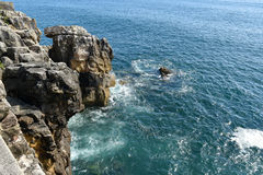 Rocks in the sea, Peniche, Portugal.  royalty free stock image
