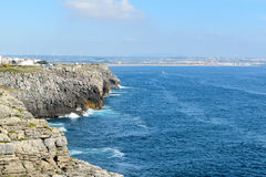 Rocks in the sea, Peniche, Portugal.  royalty free stock images