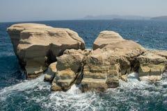 Rocks in the sea in Sarakiniko beach stock photography