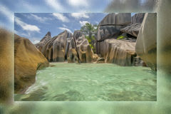 The rocks and the sea in the Seychelles Royalty Free Stock Images