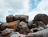 Rocks on Sea Shore. Rocks on the Atlantic Ocean coast near Cape Town, South Africa Stock Photos