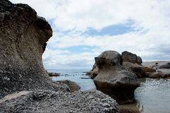 Rocks on Sea Shore. Rocks on the Atlantic Ocean coast near Cape Town, South Africa Royalty Free Stock Photography