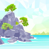 Rocks sea shore with tree polygon graphic vector Stock Image