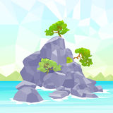 Rocks Sea Shore With Tree Polygon Graphic Stock Image