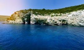 Rocks sea and sky landsape Stock Images