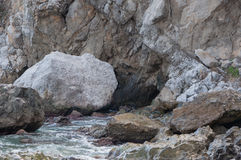 Rocks by the sea in a small storm. In high quality Royalty Free Stock Images
