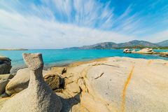 Rocks by the sea in Spiaggia del Riso. In Villasimius. Sardinia, italy royalty free stock images