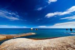 Rocks and sea. Summer sea sky sunshine exotic island sunny Royalty Free Stock Image