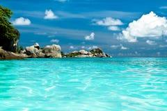 Rocks and sea. Summer sea sky sunshine exotic island sunny Royalty Free Stock Photography