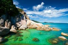 Rocks and sea. Summer sea sky sunshine exotic island sunny Stock Photo